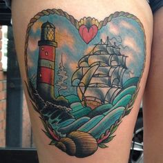 Beautiful Lighthouse And Ship Love Tattoo