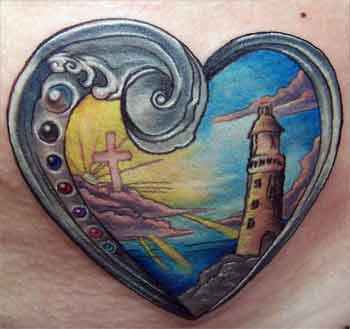 Beautiful Lighthouse Heart Tattoo