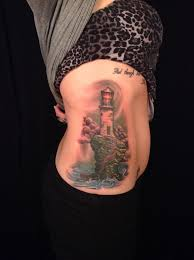 Beautiful Lighthouse Tattoo On Ribs