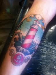 Beautiful Lighthouse Tattoo Picture On Leg