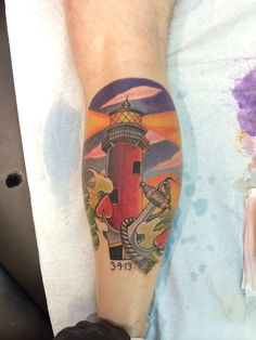 Beautiful Lightning Lighthouse And Anchor Tattoos