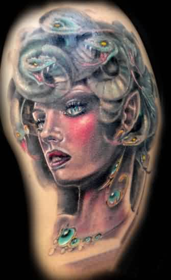 Beautiful Medusa Portrait Tattoo