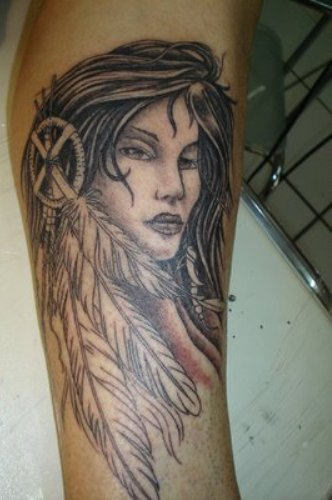 Beautiful Native American Girl With Feather Tattoos