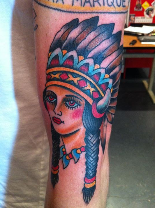 Beautiful Native American Lady Tattoo On Arm