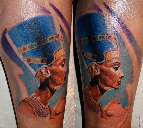 Beautiful Nefertiti Queen Portrait Tattoo