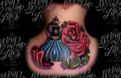 Beautiful Perfume Bottle And Rose Tattoos On Back Neck