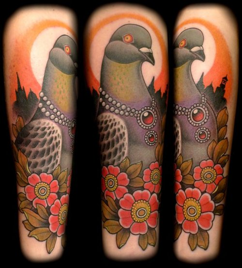 Beautiful Pigeon And Flower Tattoos On Half Sleeve