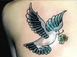 Beautiful Pigeon With Clover Tattoo