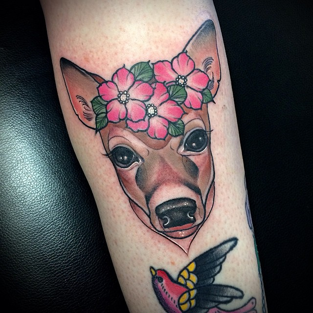 Beautiful Pink Flowers Animal Head Tattoo