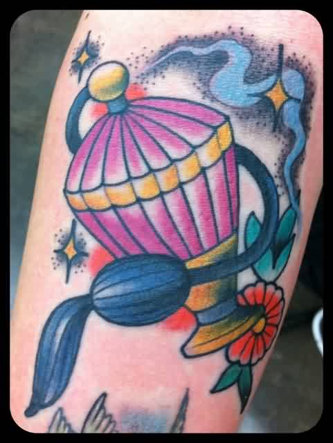 Beautiful Pink Perfume Bottle Tattoo