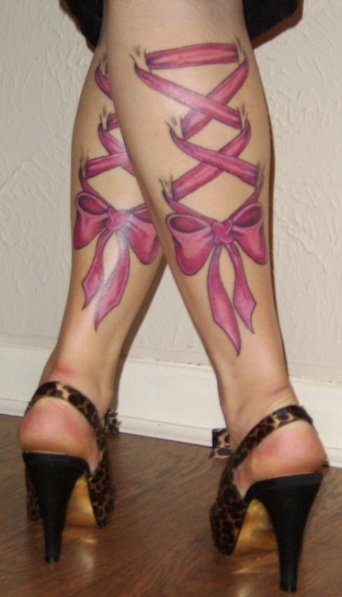 Beautiful Pink Ribbon Corset Tattoos On Legs