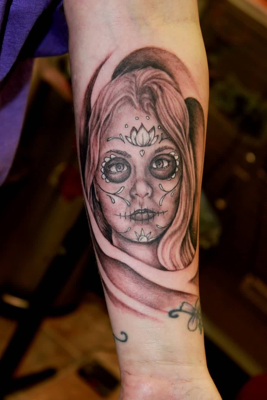 Beautiful Portrait Tattoo On Lower Arm