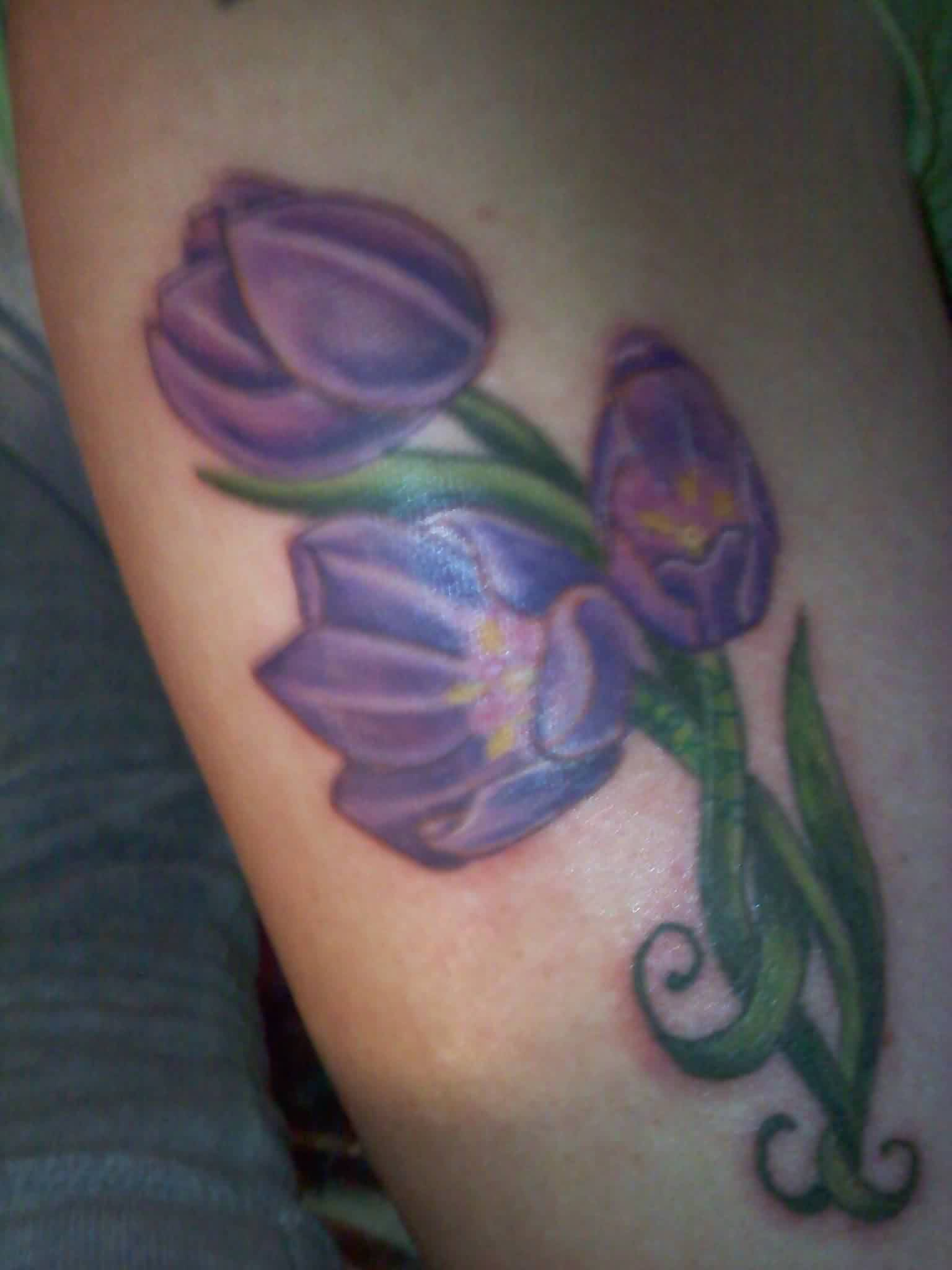 Beautiful Purple Tulips Tattoo