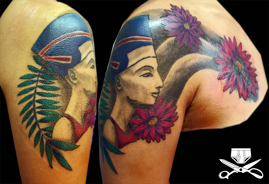 Beautiful Queen Nefertiti With Flower Tattoos On Shoulder For Women