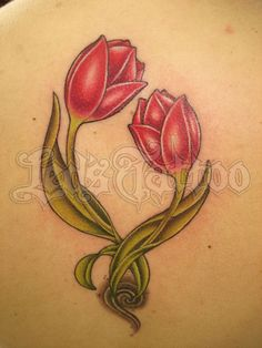 Beautiful Red Tulip Pair Tattoo