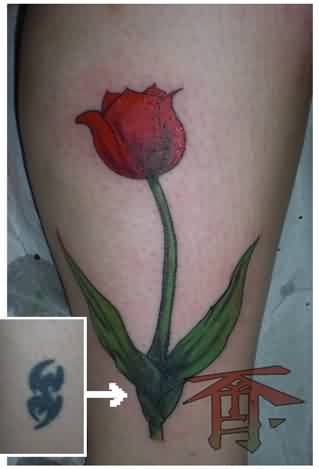 Beautiful Red Tulip Tattoo (2)