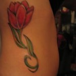 Beautiful Red Tulip Tattoo