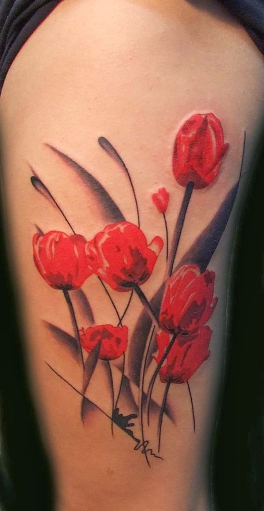 Beautiful Red Tulips Tattoo