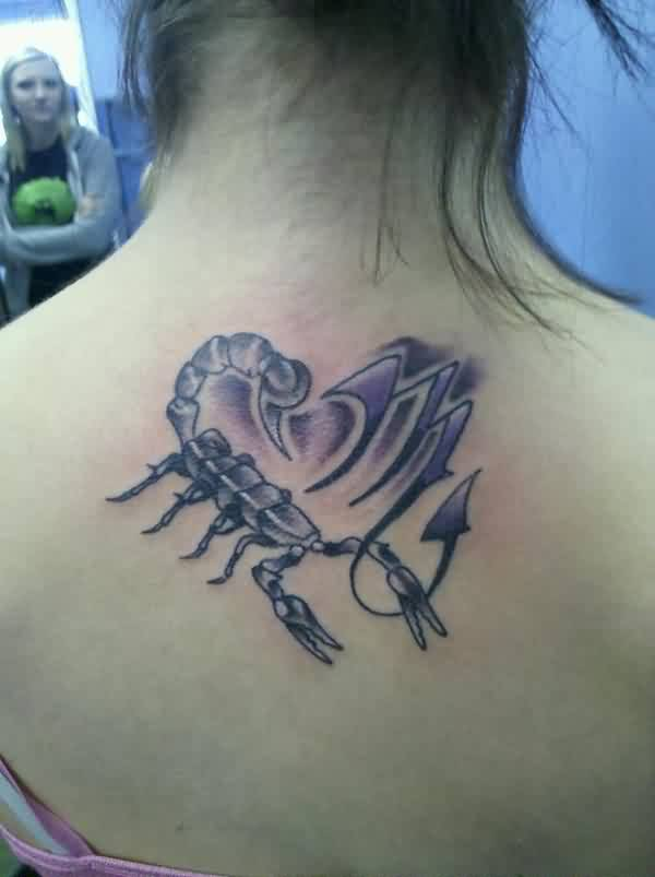 Beautiful Scorpion And Zodiac Symbol Tattoos