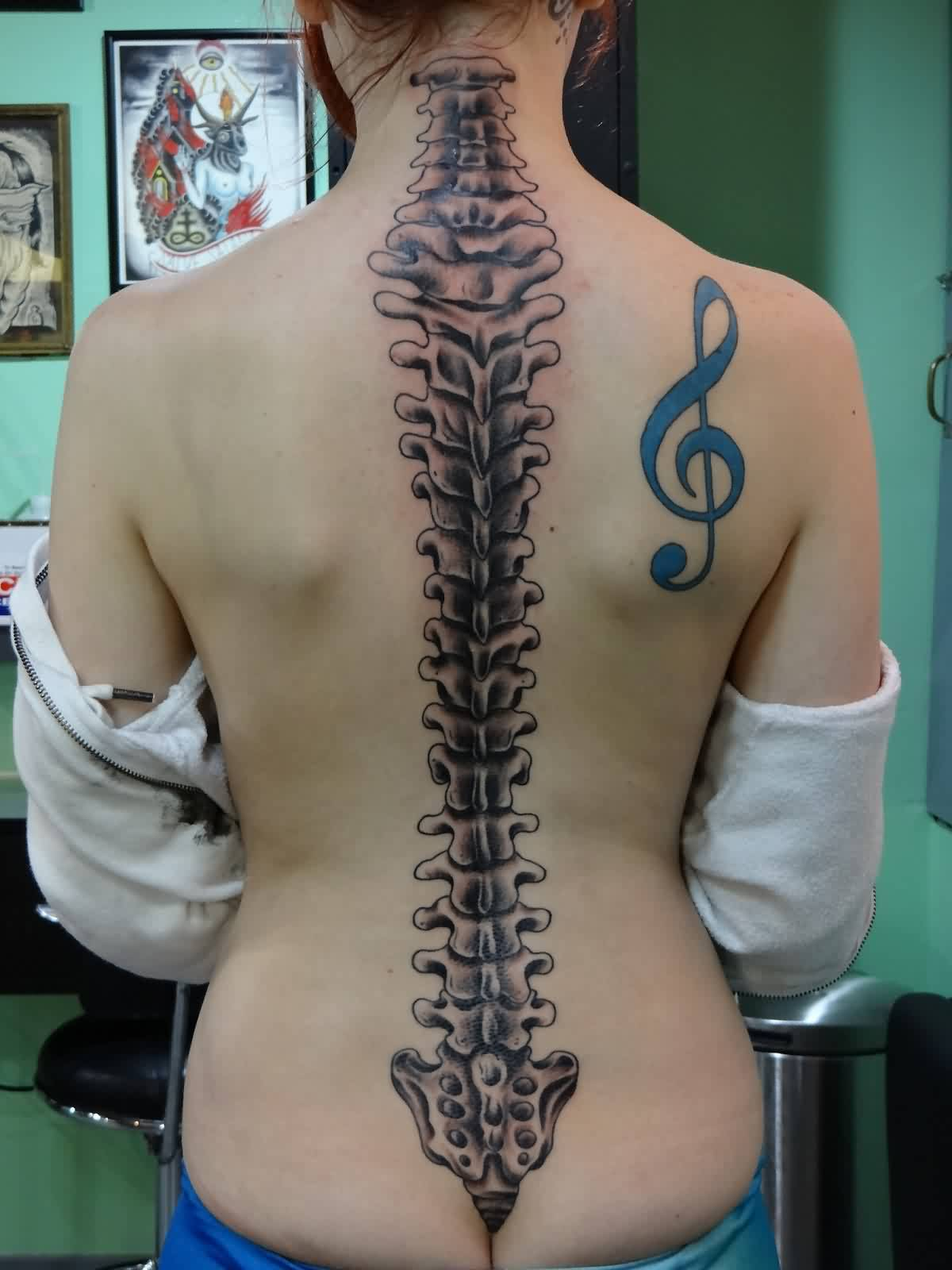 Beautiful Spine Bone And Music Note Tattoos For Girls