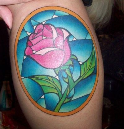 Beautiful Stained Glass Rose Tattoo For Girls