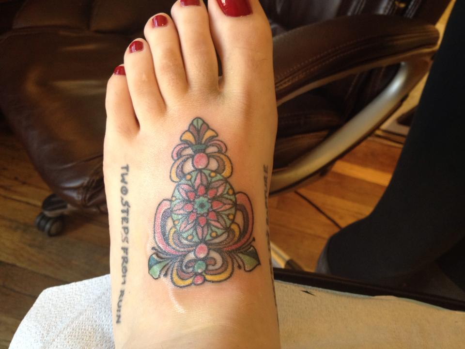 Beautiful Stained Glass Tattoo On Foot