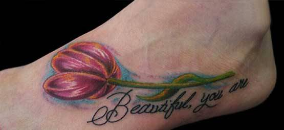 Beautiful Tulip Flower Tattoo On Foot