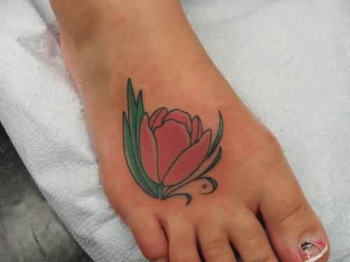 Beautiful Tulip Tattoo On Foot