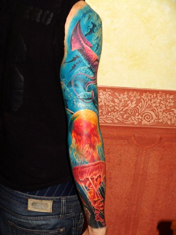 Beautiful Water Animal Tattoos On Right Sleeve