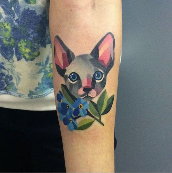 Beautiful Watercolor Cat And Flower Tattoos On Arm