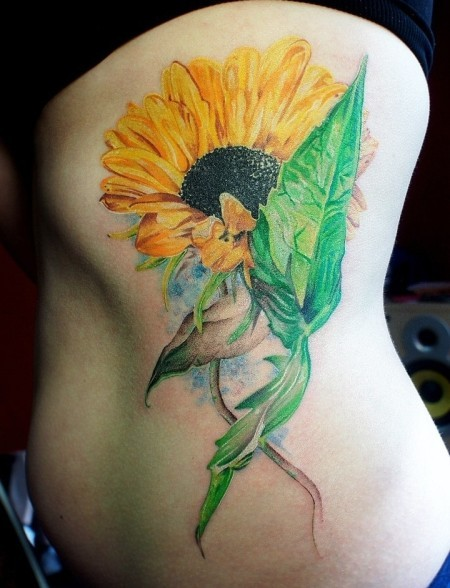 Beautiful Watercolor Tattoos On Ribs