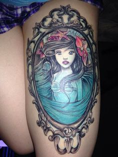 Beautiful Young Mermaid Portrait In Frame Tattoo