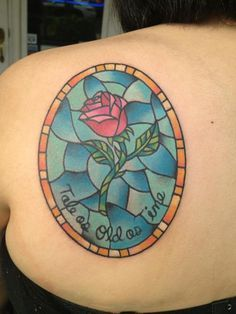 Beauty And The Beast Glass Tattoo On Back Shoulder