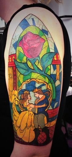 Beauty And The Beast Glass Tattoo On Half Sleeve