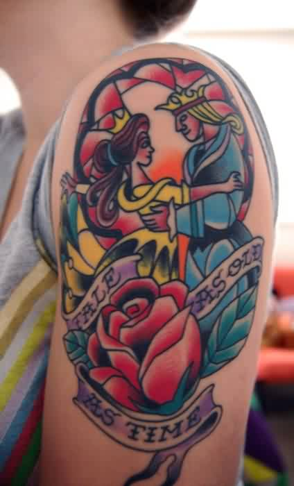 Beauty And The Beast Stained Glass Tattoo On Arm