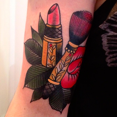 Beauty Makeup Lipstick And Brush Tattoos