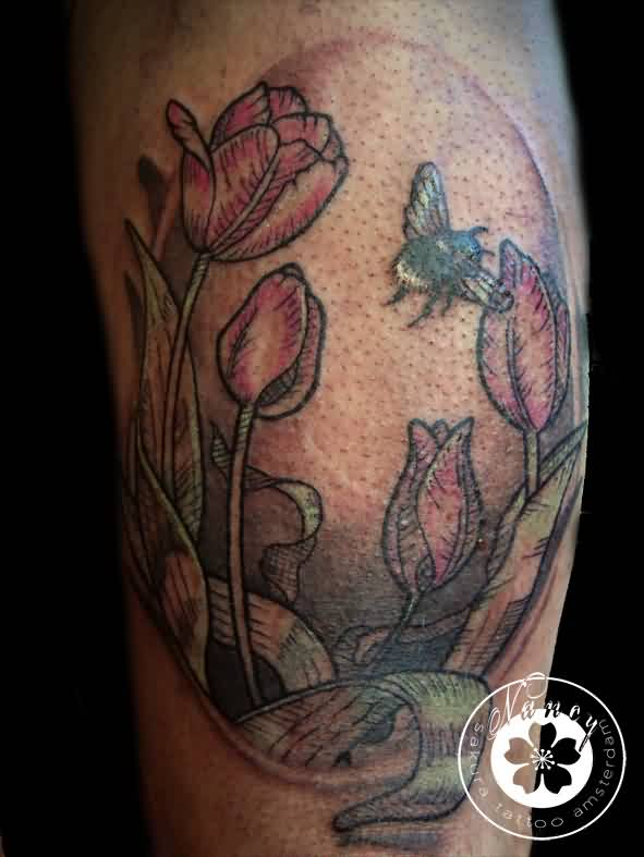 Bee On Tulips Tattoo