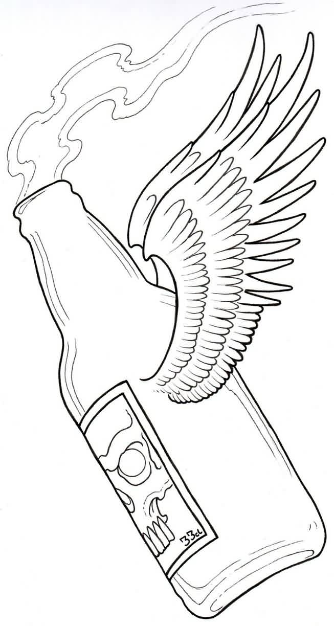Beer Bottle With Wings Tattoo Sample