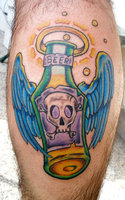 Beer Bottle With Wings Tattoos