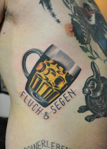 Beer Glass Tattoo And Rabbit Tattoos For Men