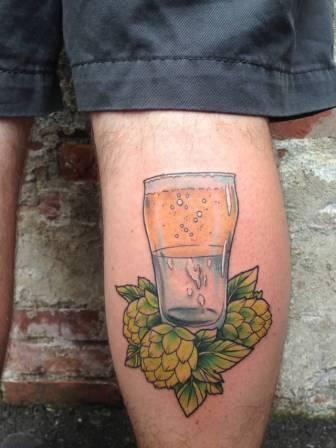 Beer Glass Tattoo On Back Of Leg