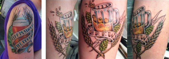 Beer Glass Tattoos Pictures