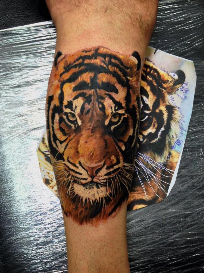 Best Tiger Face Tattoo On Leg