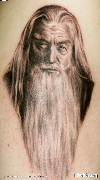 Big Bearded Wizard Portrait Tattoo