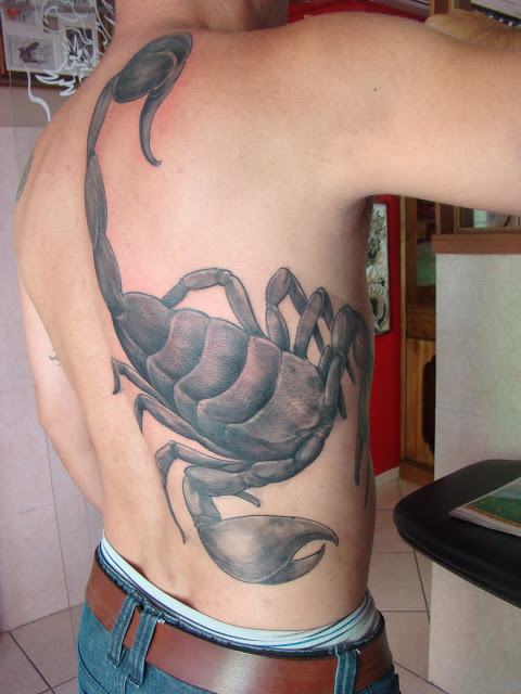 Big Size Grey Scorpion Tattoo On Body