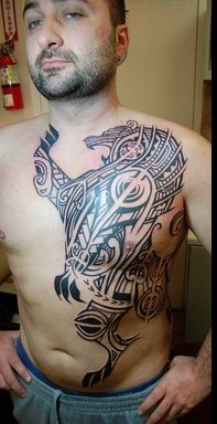 Big Size Polynesian Lion Tattoo On Front Body
