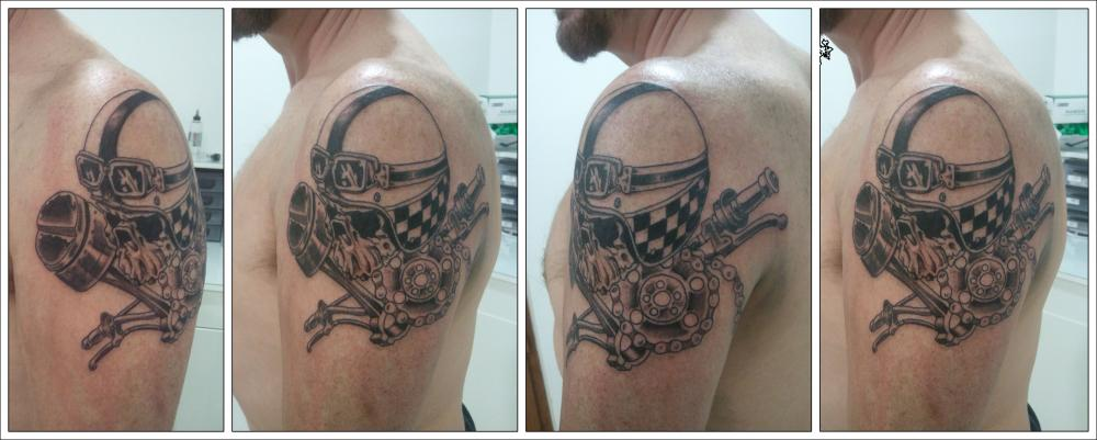 Biker Skull Helmet Tattoo On Shoulder