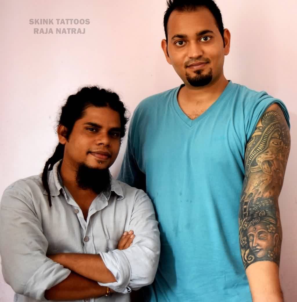 Bio Organic Sleeve Tattoo With Buddha Portrait