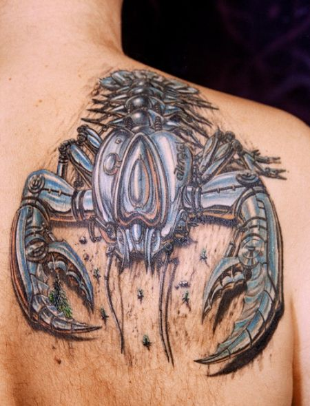 Biomechanical Scorpion Tattoo On Back Shoulder