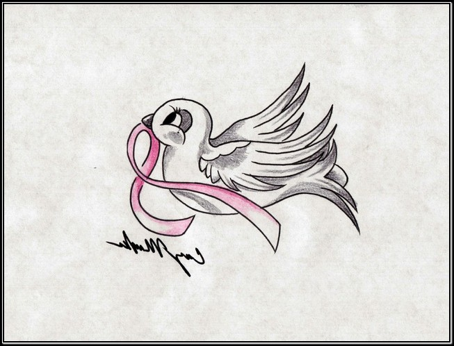 Bird With Ribbon Tattoo Photo